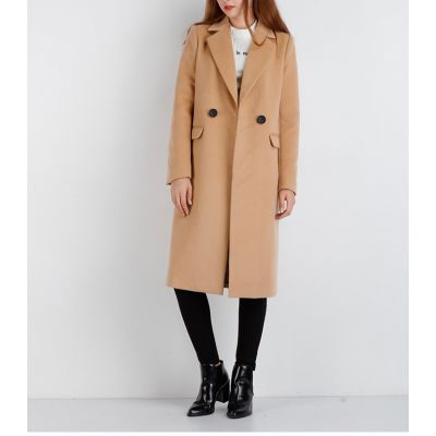 Long wool coat for women with single button closure