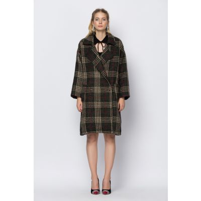 Long Classic Coat for Women with Wool Plaid Design