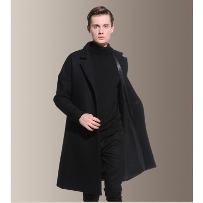Long wool coat for men with concealed closure