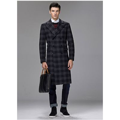 Long wool coat for men with double breast checkered pattern