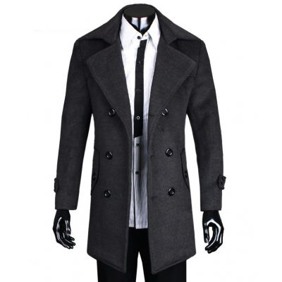 Long Men's Coat with Double Breast Button Closure - Wool