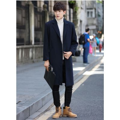 Long minimalist coat in wool for men