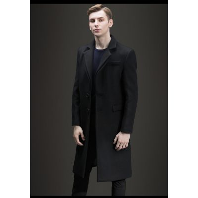 Long wool mix overcoat for men winter classic outerwear