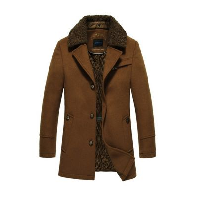 Winter coat for men with vintage fur collar mid-length