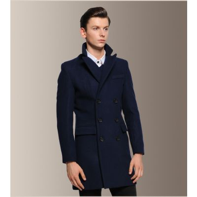 Classic mid length coat men's double breasted wool coat