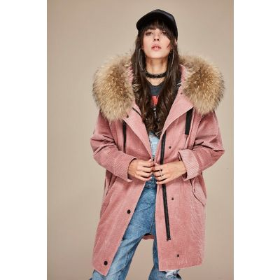 Mid-length corduroy coat for women with fur hood