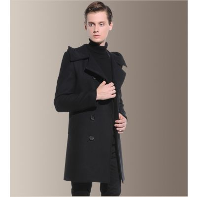 Men's mid-length coat with off-the-shoulder closure and hood