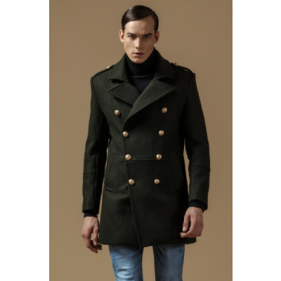 Classic Double Breasted Officer Coat for Men - Wool