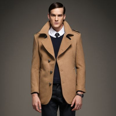 Men's Woolen Coat with detailed shoulders