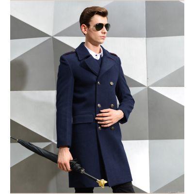 Men's Long Officer coat Slim Fit Wool