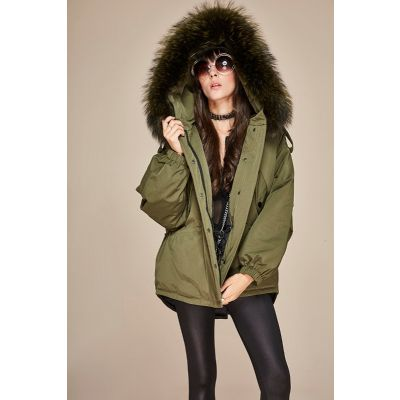 Women's Overcoat Winter Coat with Hood Filled with Thick Fur