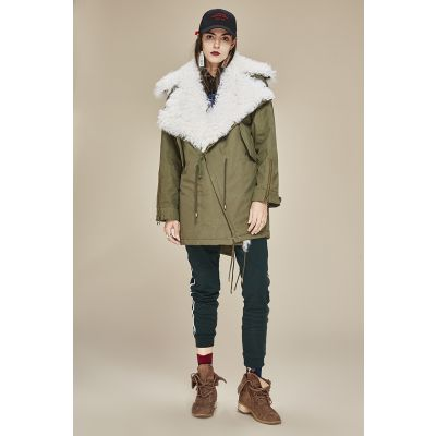 Winter perfecto coat with natural wool for women