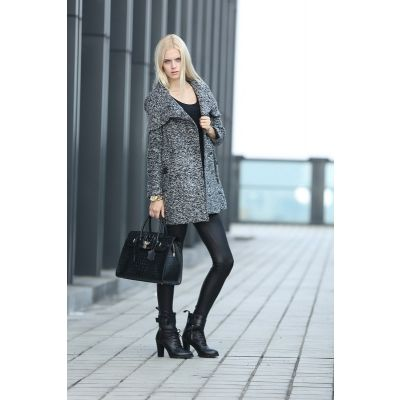 Woven Wool Coat for Women with Hooded Collar and Single Outer Button