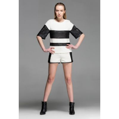Matching Shorts and T shirt Set for Women Bimaterial Leather Black White