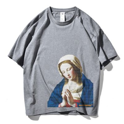 Men's short sleeve t-shirt Virgin Mary print oversize