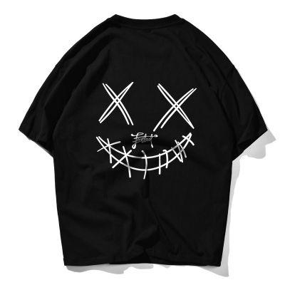 Men short sleeves cotton t-shirt with devil grimace print