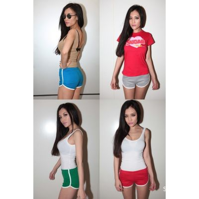 Mini sport shorts for women white trim cotton