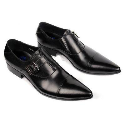 Monk Strap Leather Dress Shoes for Men - Black
