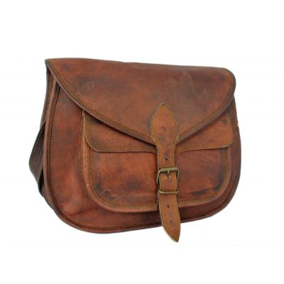 Retro Fashion Genuine Leather Bag Vintage with Shoulder Strap - 15 inches
