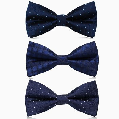Shiny Satin Bowtie Navy Blue with Various Patterns for Suit Wedding Ceremony