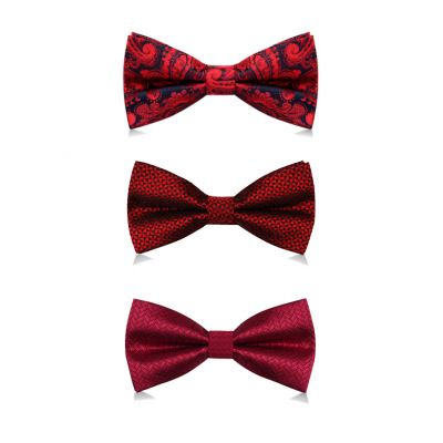 Burgundy Red Satin Bowtie in Various Patterns with Matching Pocket Square for Suit Wedding Ceremony