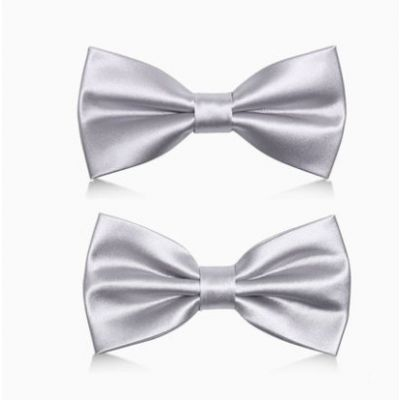 Silver Plain Satin Bowtie with Matching Pocket Square for Classic Suit Wedding Ceremony