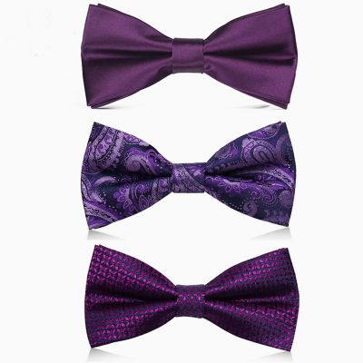 Purple Satin Bowtie in Various Patterns with Matching Pocket Square for Suit Wedding Ceremony