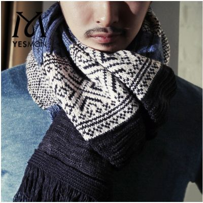 Men knitted scarf pattern with winter