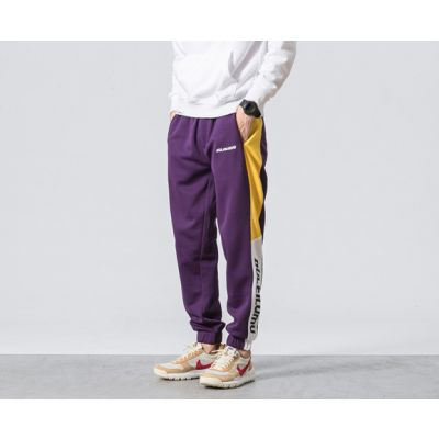 Sweatpants retro sportswear tracksuit trousers for men with bloc color contrast