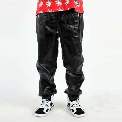 Faux Leather Sweatpants Mock Croc Sports Trousers for Men