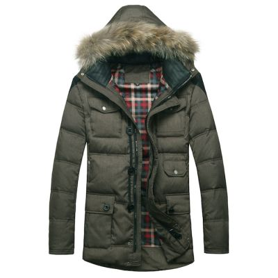 Winter Parka for Men with Fur Lined Hood and Multiple Pockets