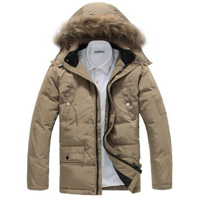 Fur Lined Hooded Winter Parka for Men with Chest Pockets