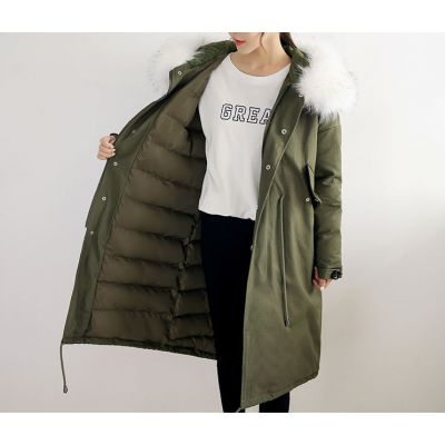 Parka Trench Coat for Women with Faux Fur Hood
