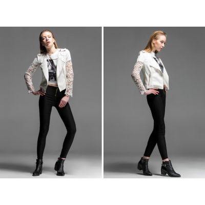 Perfecto Leather Jacket for Women with Lace Flower Sleeves - White