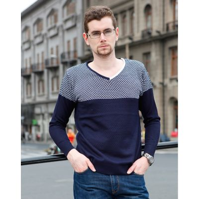 V Neck Pullover Jumper for Men with Asymmetric Colored Collar