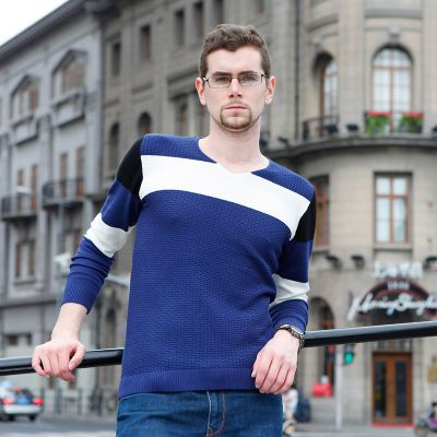 Geometric Design Jumper for Men with White Chest Stripe