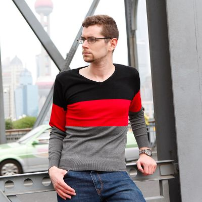 Tricolor Grey Red and Black V Neck Sweater for Men
