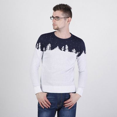 Round Collar Pullover Sweater for Men with Winter Pattern Snow Trees