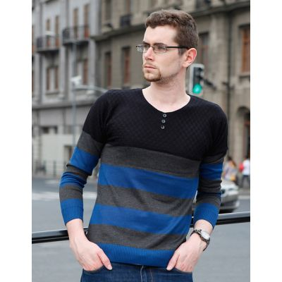 Striped Pullover for Men with Mixed Stripes and Collar Buttons