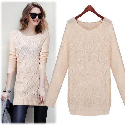 Long Jumper for Women with Knitted Wave Design and Round Collar