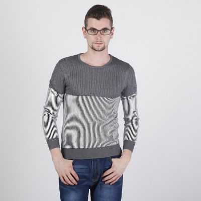 Half Cable Knit Sweater for Men with Thin Stripe Pattern