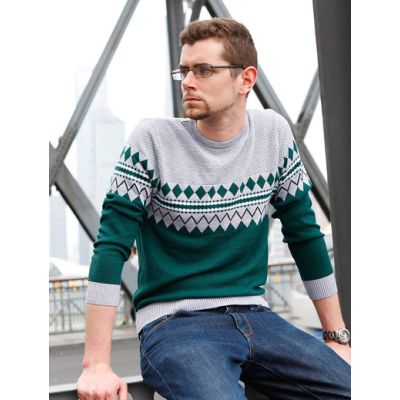 Retro Fashion Pullover Jumper for Men with Diamonds Stripes