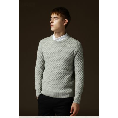 Knitted Round Collar Jumper for Men Classic Style