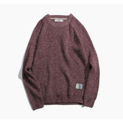 Heathered wool sweatshirt for men with round neck