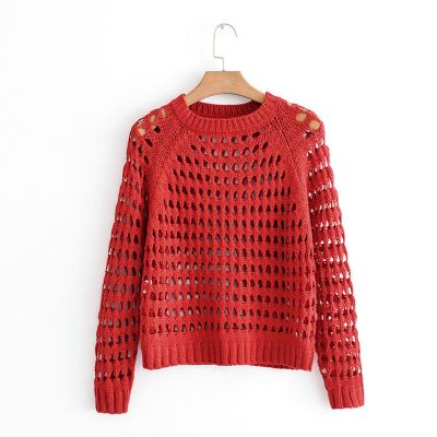 Knitwear Jumper for women large knit see-through sweater