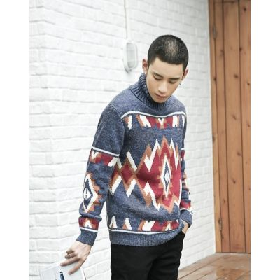Knitted wool sweater with colorful geometric pattern for men