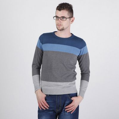 Men's Round Collar Pullover Sweater with Mixed Stripes Pattern