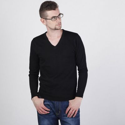 V Neck Woven Jumper for Men Classic Fashion - Grey Black