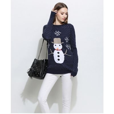 Christmas wool sweater for women with snowman