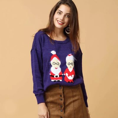 Wool Pullover Santa Claus and Mother Christmas for Woman